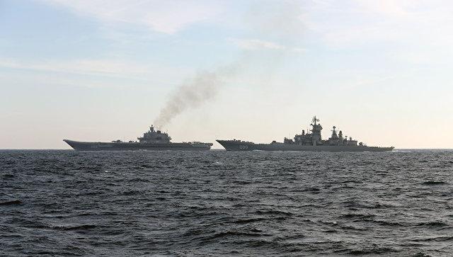 Российские корабли Петр Великий и Адмирал Кузнецов. Архивное фото.