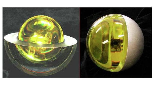 Российский микроспутник &quot;Блиц&quot;, предназначен для работы с системами лазерного зондирования. Представляет собой стеклянный шар-отражатель массой 7,5 килограмма.<br>(BLITS — Ball Lens In The Space).