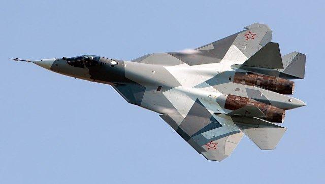 Российский многофункциональный истребитель пятого поколения Су-57.