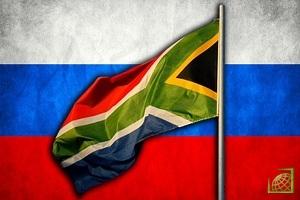 Флаги России и ЮАР.
