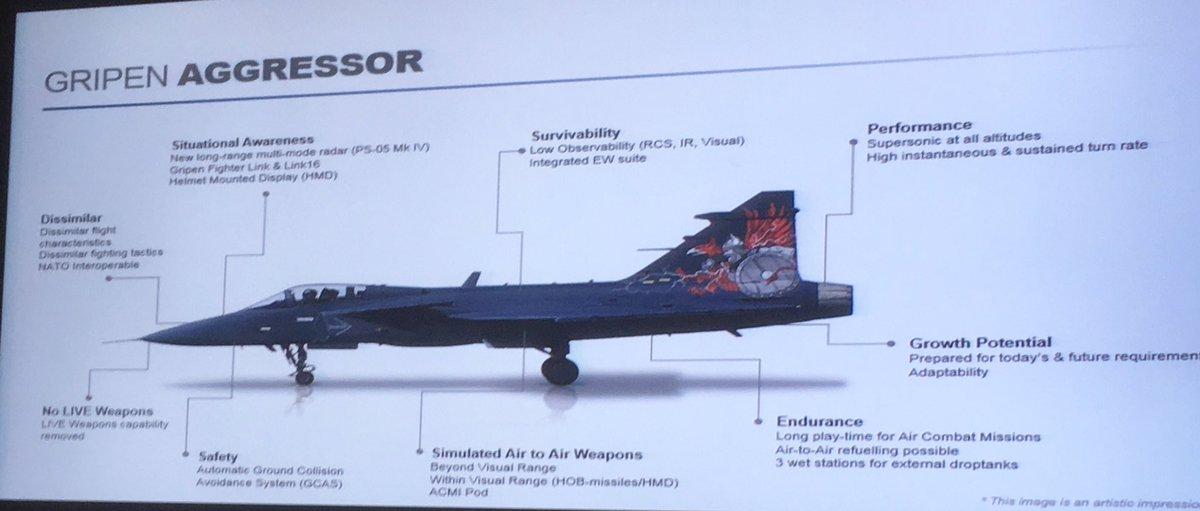 Материал рекламной презентации самолета Saab Gripen Aggressor на выставке DSEI-2017 в Лондоне.