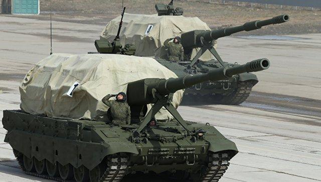 Самоходная артиллерийская установка Коалиция-СВ во время репетиции парада Победы в Московской области.