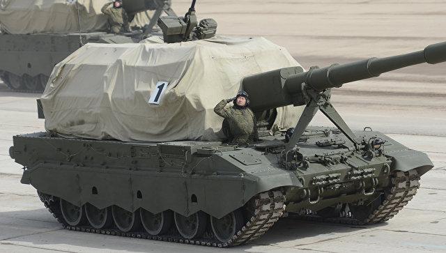 Самоходная артиллерийская установка САУ Коалиция-СВ на полигоне. Архивное фото.