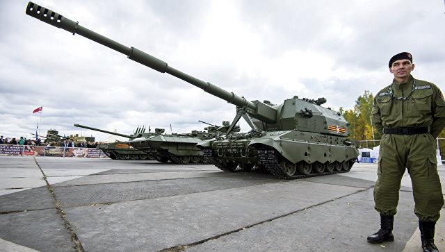 Самоходное артиллерийское орудие 2С35 на базе Т-90 Коалиция-СВ на 10-й международной выставке Russia Аrms Еxpo.