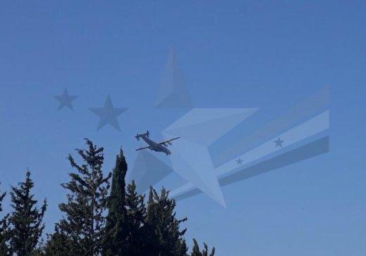 """Самолет Ан-22 """"Антей"""" над базой ВКС Хмеймим."""
