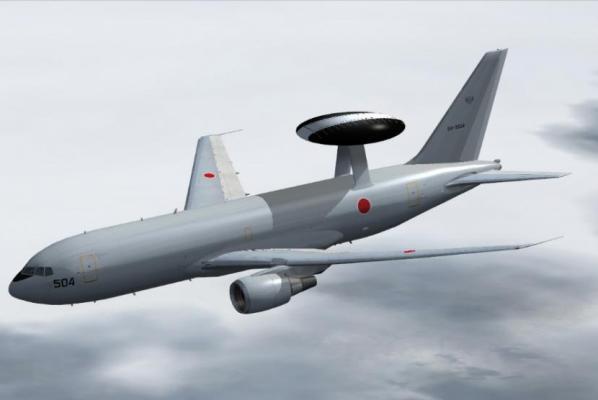 Самолет ДРЛО E-767 сил самообороны Японии.