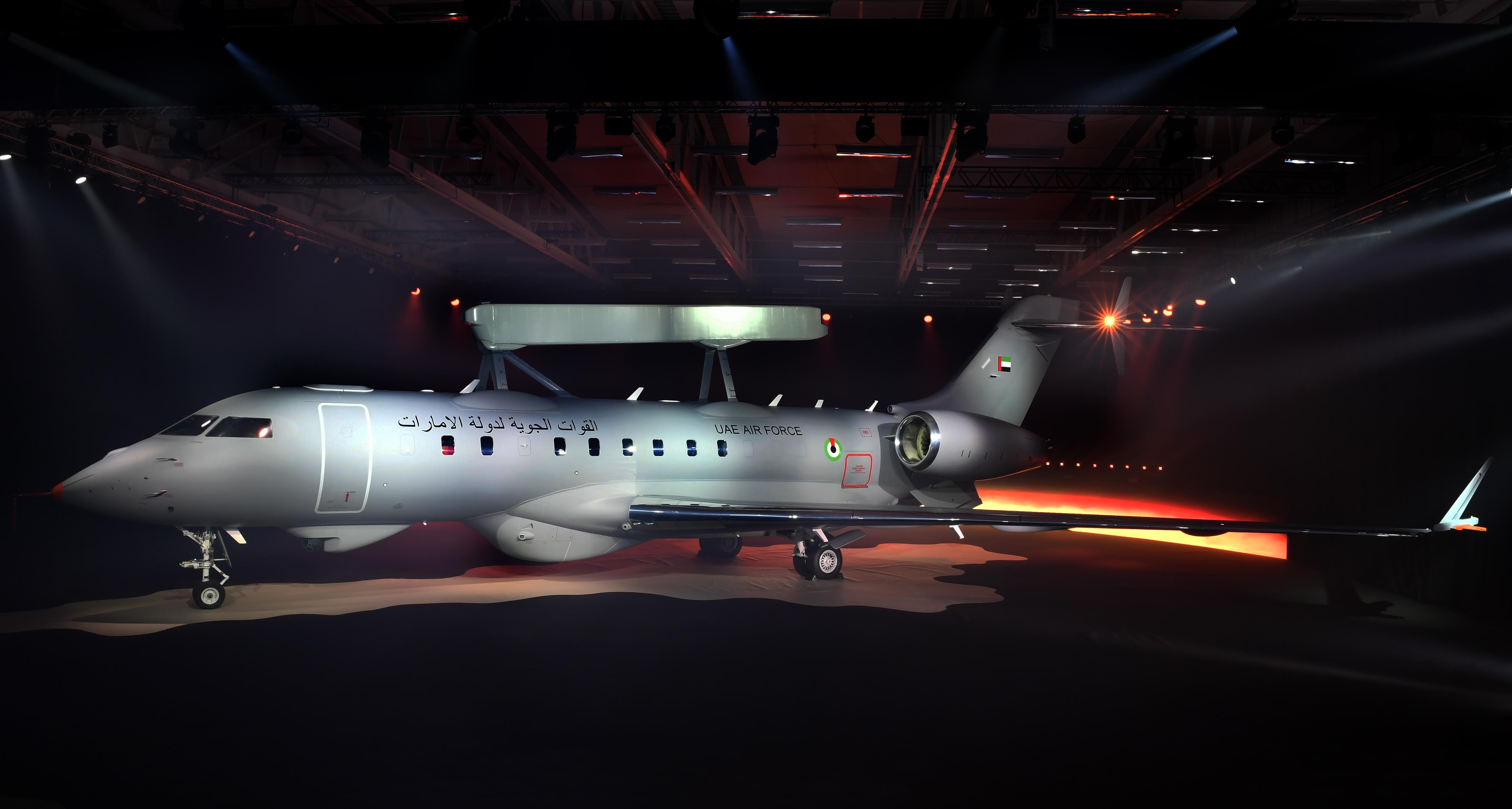 Первый построенный для ВВС ОАЭ самолет дальнего радиолокационного обнаружения и управления GlobalEye, выполненный на основе административного самолета Bombardier Global 6000 и оснащенный радиолокационным комплексом Saab Erieye ER. Линчёпинг (Швеция), 23.02.2018.