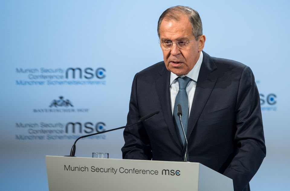 Министр иностранных дел России Сергей Лавров на Мюнхенской конференции по безопасности 2018 года.