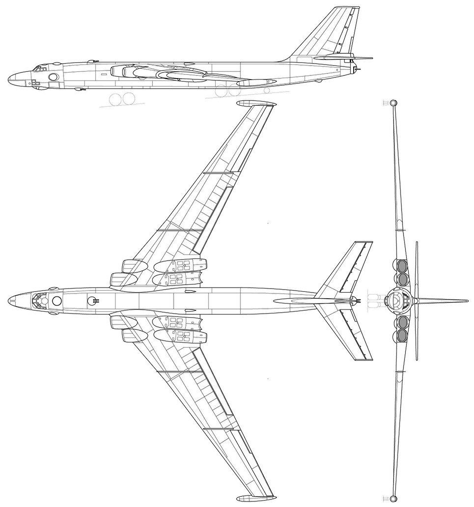 Схема самолета М-4, разработанного в ОКБ Мясищева.