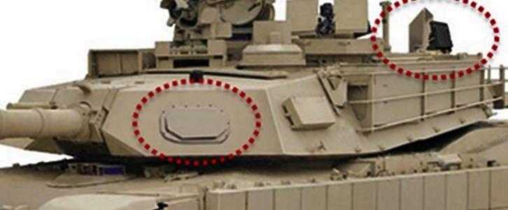 Схема установки элементов израильского комплекса активной защиты Rafael Trophy на американском танке M1A2 SEPv2 Abrams.