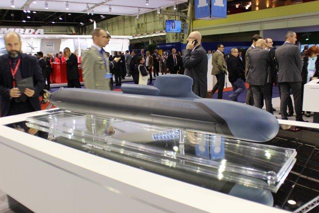 Модель неатомной подводной лодки SMX Ocean, представленная на выставке Euronaval 2014 в Париже компанией DCNS.