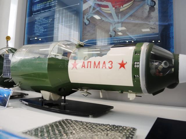 Макет военной космической станции «Алмаз» в музее «НПО машиностроения».