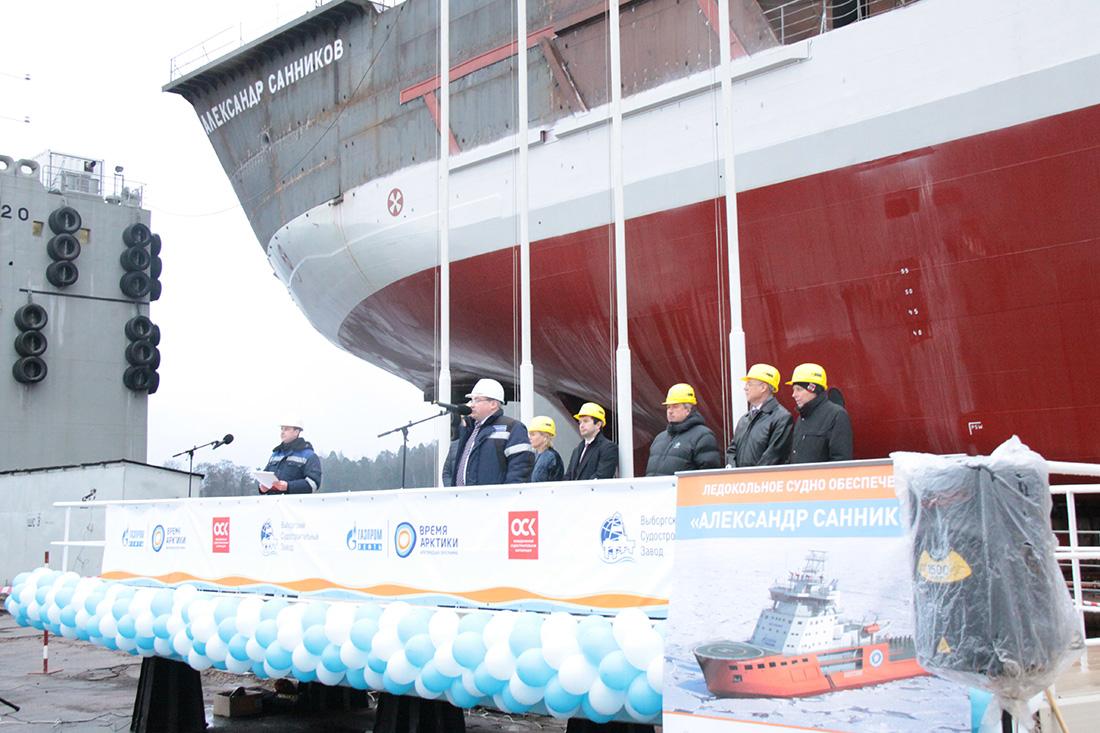 Спуск на воду ледокольного судна «Александр Санников» ледового класса Icebreaker 8 проекта Aker Arc130A.