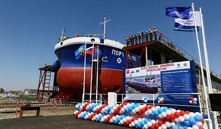Спуск на воду танкера-химовоза «ПортНьюс»