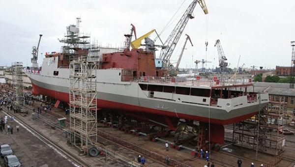 Спуск на воду второго фрегата проекта 11356