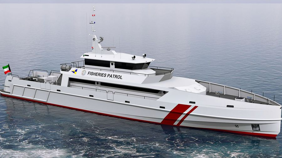 Проектное изображение большого сторожевого катера охраны рыболовства, заказанного береговой охраной Кувейта испанской судостроительной верфи Construcciones Navales P. Freire.