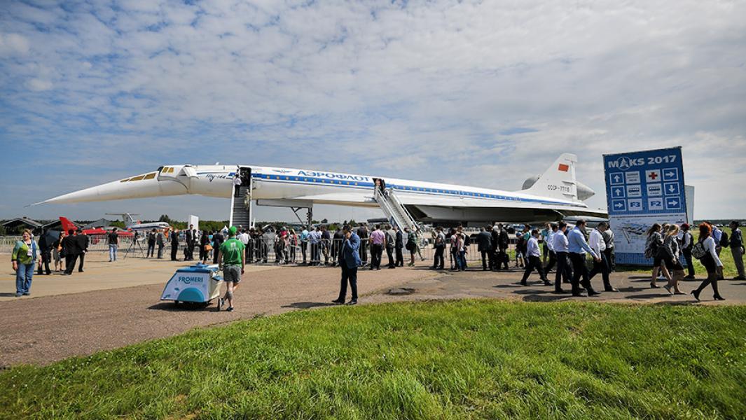 Сверхзвуковой авиалайнер Ту-144 на открытии Международного авиационно-космического салона МАКС-2017.