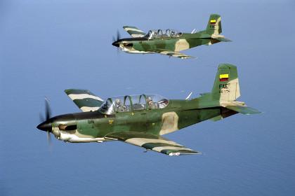 Учебные самолеты T-34C-1 Mentor ВВС Колумбии.