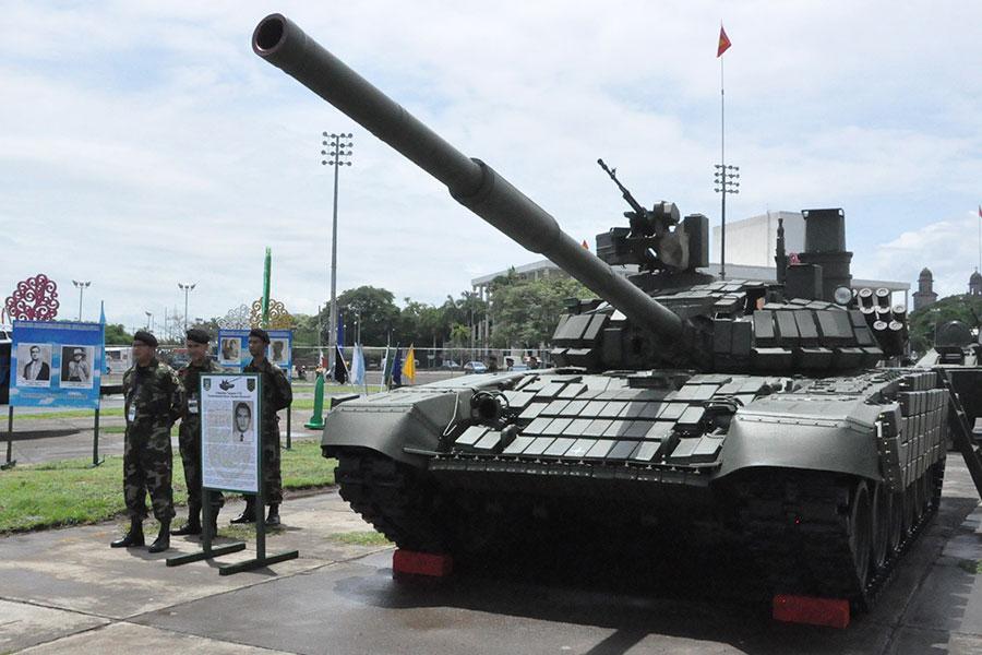 Поставленный из России модернизированный танк Т-72М1 сухопутных войск Никарагуа. Манагуа, 15.08.2016.