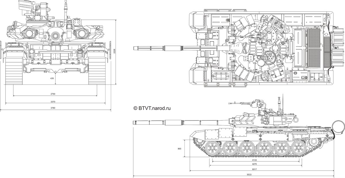 "Схема боевого танка Т-90 """