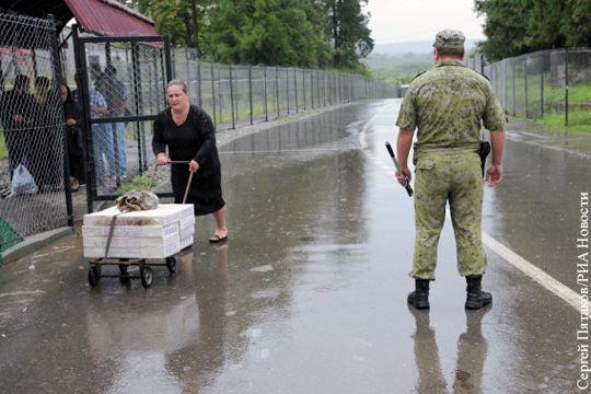 Пункт пропуска на границе между Грузией и Южной Осетией