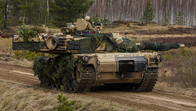 Танк M1 Abrams на международных военных учениях Summer Shield XIV в Латвии.