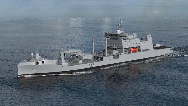 Проектное изображение планируемого к строительству многофункционального танкера снабжения для ВМС Новой Зеландии по проекту корпорации Hyundai Heavy Industries (HHI).