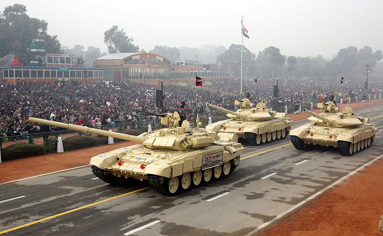 Танки Т-90 во время парада в честь Дня Независимости Индии, 2016 год.