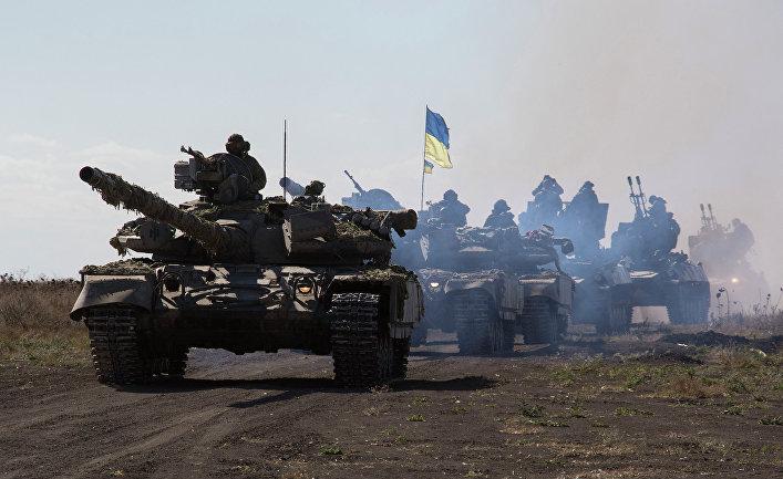 Танки украинской армии в Донецкой области.