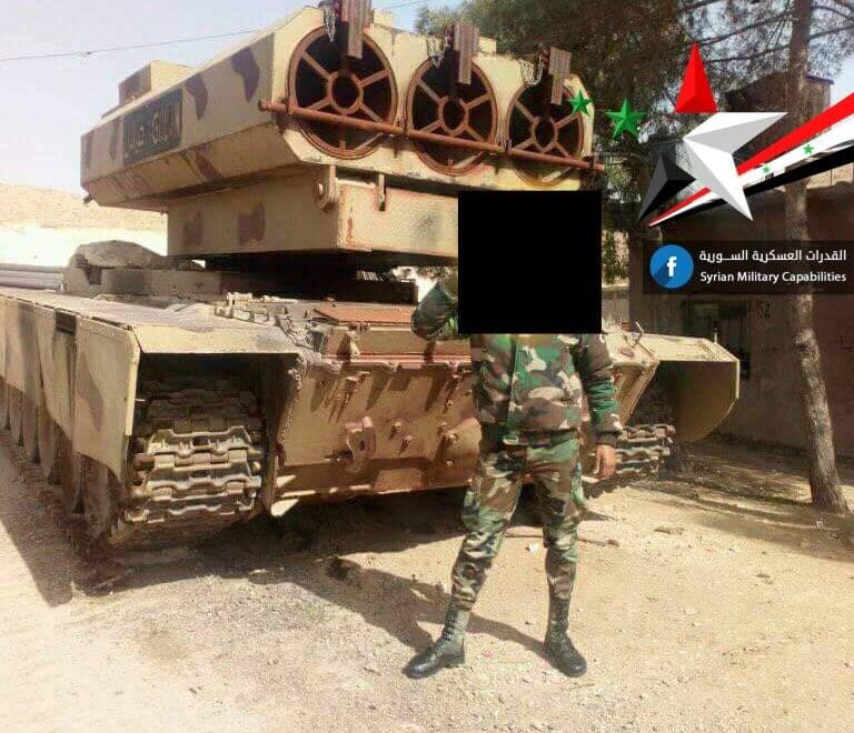 Реактивная установка сирийской армии Golan-1000 на базе танка Т-72, является аналогом российского ТОС-1А.