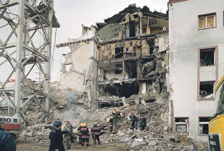Телецентр, уничтоженный в Белграде