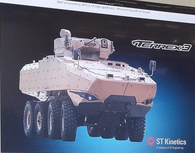 Предлагаемый сингапурской компанией Singapore Technologies Kinetics (STК) на тендер австралийской армии по программе LAND 400 Phase 2 разведывательный бронетранспортер Sentinel II, представляющий собой новый бронетранспортер STK Terrex 3 с боевым модулем Elbit Systems UT30 с 30-мм пушкой.