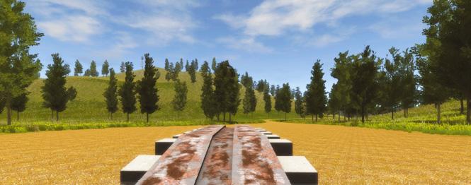 Визуализация упражнения в режиме «Вождение боевых машин» на комплексном экипажном тренажере бронетранспортера Группы «Кронштадт». Макет колейного моста.