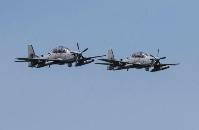 Турбовинтовые учебно-боевые самолеты Embraer EMB-314 Super Tucano (А-29) ВВС Ливана, поставленные в счет военной помощи со стороны США. 11.05.2019