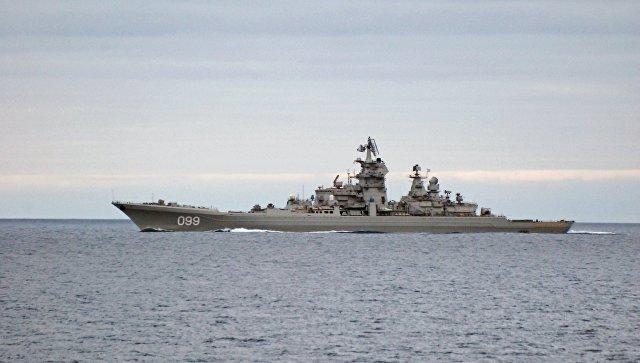 Тяжелый атомный ракетный крейсер Петр Великий во время прохода авианосной группы Северного флота России в Норвежском море. Архивное фото.