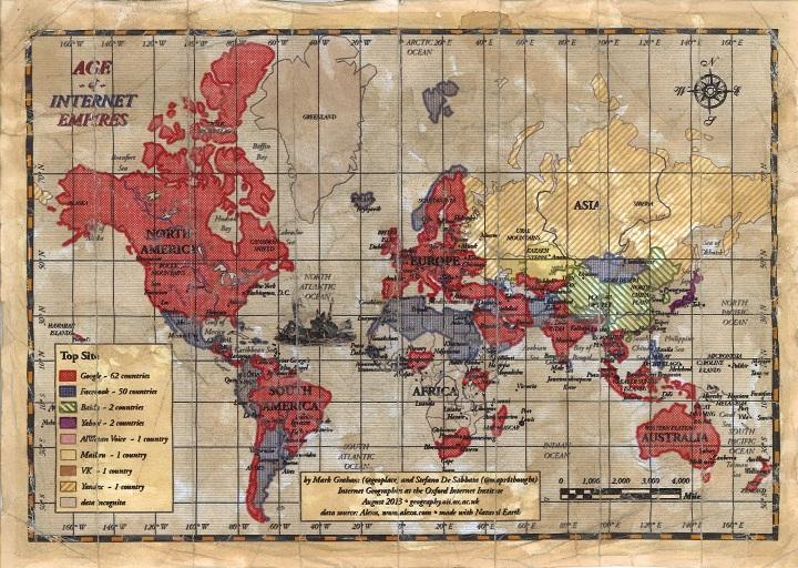 Если посмотреть на карту «раздела мира» между интернет-компаниями, составленную оксфордскими учёными в рамках проекта «Age of Internet Empires», то мы можем увидеть в ней интересную вещь, касающуюся нашей страны. Только две державы — Российская Федерация и Китайская Народная Республика — сохраняют «поисковый суверенитет». Наиболее часто зашедшие в Сеть русские и китайцы обращаются к своим национальным поисковикам, которыми являются «Яндекс» и Baidu соответственно. Россия, кроме того, имеет свою социальную сеть «ВКонтакте» (второй по популярности интернет-ресурс в нашей стране и на Украине и первый в союзной Белоруссии) и национальную почтовую систему Mail.Ru (третий по посещаемости отечественный ресурс и самый любимый в Казахстане).