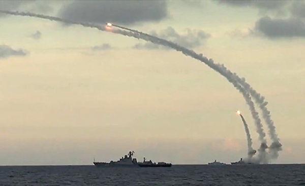 Удар 18-ю крылатыми ракетами комплекса Калибр-НК