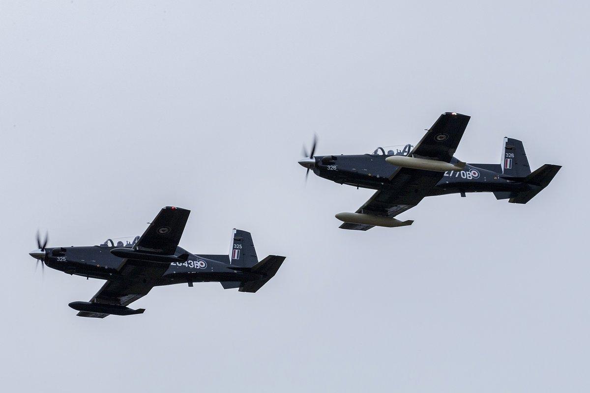 Прибывшие на британскую авиабазу Валли два первых полученных Королевскими ВВС Великобритании турбовинтовых учебно-тренировочных самолета Beechcraft T-6C Texan II (британские военные номера ZM325 и ZM326, временная американская регистрация N2843B и N2770B), предназначенных для основного этапа подготовки летного состава ВВС и ВМС Великобритании в рамках новой системы летной подготовки UK Military Flying Training System (UKMFTS) на подрядной основе. 16.02.2018.