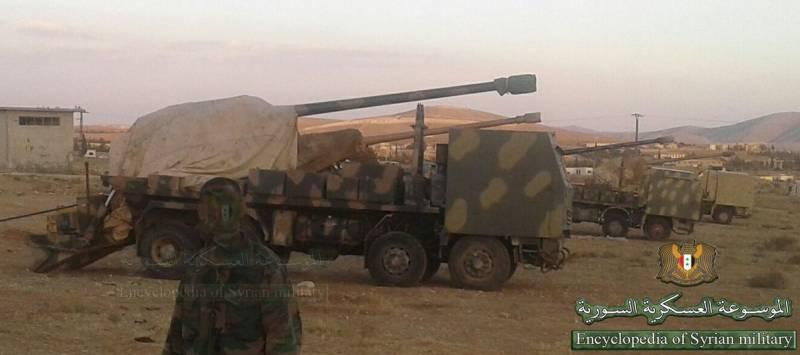 Сирийские 130-мм колесные самоходные артиллерийские установки, выполненные на шасси четырехосных немецких коммерческих грузовиков Mercedes Actros 4140.