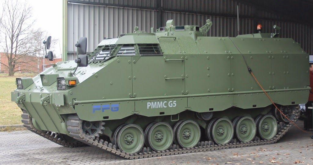 Опытные образцы разработанной германской компанией Flensburger Fahrzeugbau Gesellschaft mbh (FFG) гусеничной бронированной платформы PMMC G5.