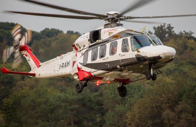 Вертолет Leonardo Helicopters AW189, планируемый к оснащению новым вертолетным турбовальным двигателем Safran Aneto-1К.