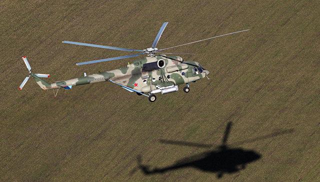 Вертолет Ми-8АМТШ Терминатор во время учебно-тренировочного полета экипажей армейской авиации отдельного вертолетного полка Южного военного округа, базирующихся в городе Кореновск Краснодарского края. Архивное фото.