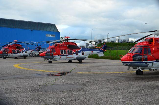 Выведенные из эксплуатации вертолеты Airbus Helicopters H225 (EC225LP) компании CHC Helicopter на хранении в Абердине (Великобритания), снимок 2016 года. Теперь эти вертолеты предполагаются к продаже для МВД Украины.