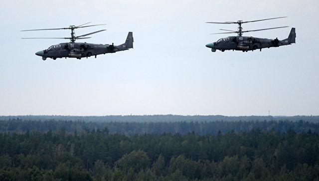 Вертолеты Ка-52 ВКС России во учений Запад-2017 в Белоруссии.