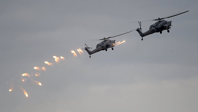 Вертолеты Ка-52 ВКС России во время учений Запад-2017.