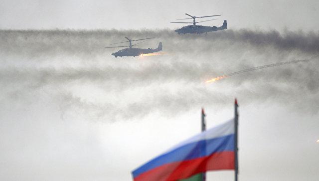 Вертолеты Ка-52 во время совместных стратегических учений вооруженных сил Республики Белоруссия и Российской Федерации Запад-2017. 20 сентября 2017.