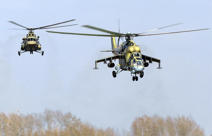 Вертолеты Ми-24 и Ми-8.