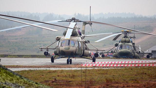 Вертолеты Ми-8 на полигоне в Минской области во время совместных стратегических учений вооруженных сил Республики Белоруссия и Российской Федерации Запад-2017. 20 сентября 2017.