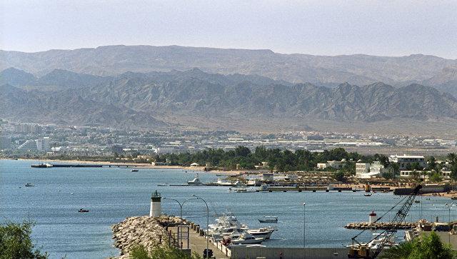 Вид на порт города Акаба. Иордания. Архивное фото.