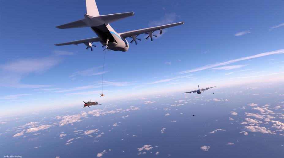 Визуализация системы подбора беспилотников для C-130 Hercules.